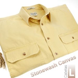 Cabelas Stonewash Canvas Thick Yellow Men Shirt L